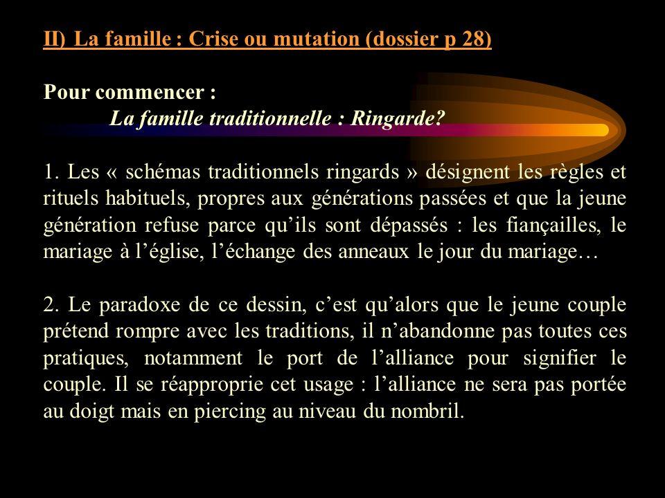 II) La famille : Crise ou mutation (dossier p 28) Pour commencer : La famille traditionnelle : Ringarde? 1. Les « schémas traditionnels ringards » dés