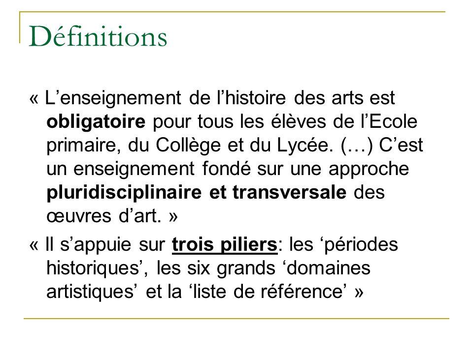 Définitions « Lenseignement de lhistoire des arts est obligatoire pour tous les élèves de lEcole primaire, du Collège et du Lycée. (…) Cest un enseign