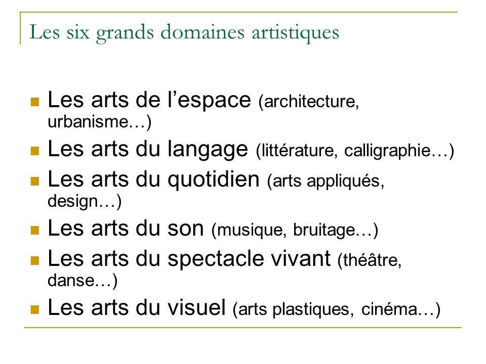 Les six grands domaines artistiques Les arts de lespace (architecture, urbanisme…) Les arts du langage (littérature, calligraphie…) Les arts du quotid