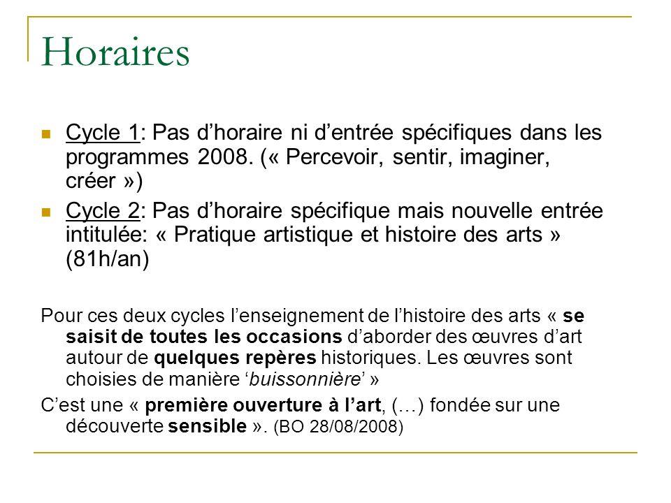 Horaires Cycle 1: Pas dhoraire ni dentrée spécifiques dans les programmes 2008. (« Percevoir, sentir, imaginer, créer ») Cycle 2: Pas dhoraire spécifi