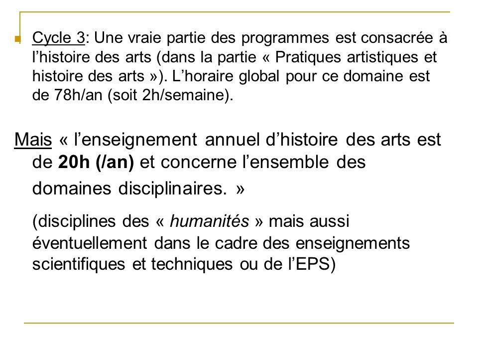 Cycle 3: Une vraie partie des programmes est consacrée à lhistoire des arts (dans la partie « Pratiques artistiques et histoire des arts »). Lhoraire