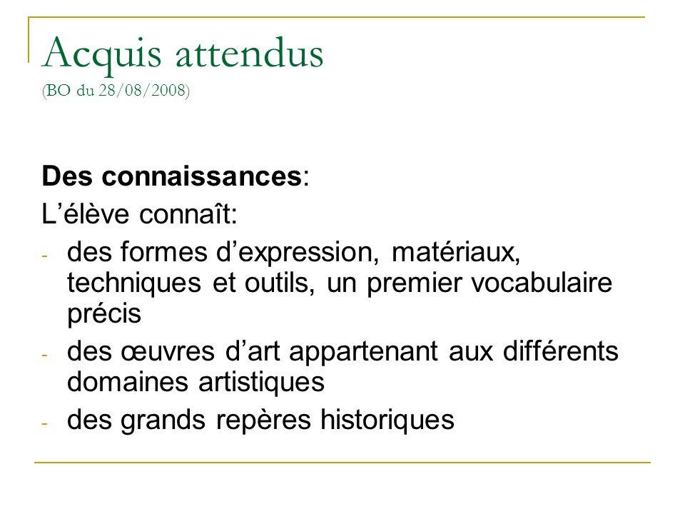 Acquis attendus (BO du 28/08/2008) Des connaissances: Lélève connaît: - des formes dexpression, matériaux, techniques et outils, un premier vocabulair