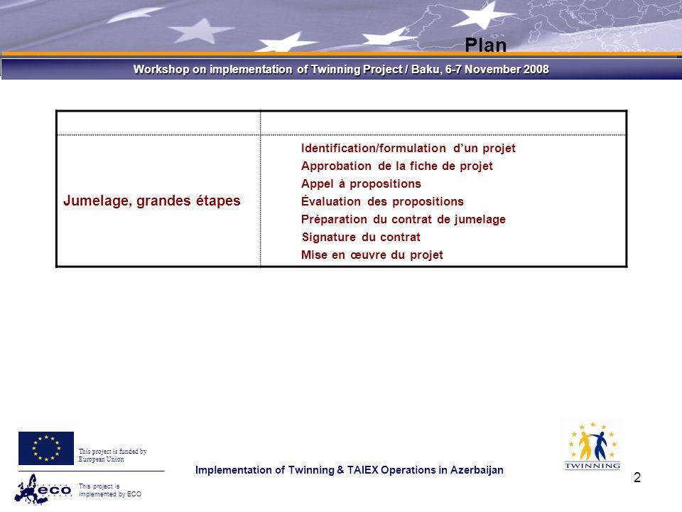 Workshop on implementation of Twinning Project / Baku, 6-7 November 2008 This project is funded by European Union This project is implemented by ECO Implementation of Twinning & TAIEX Operations in Azerbaijan 23 Processus délaboration du contrat de jumelage 3 mois Préparation du CJ Avis motivé de lUGP/DCE/CE Contrôle de la version modifiée Finalisation du CJ Signature 4 semaines Prise en compte de lavis motivé 4 semainesXY Objectif : 3 mois + X + Y = 6 mois max Notification du choix de lEM par lUGP Soumission à lUGP du 1 er Draft Soumission à lUGP de la version modifiée Approbation du CJ