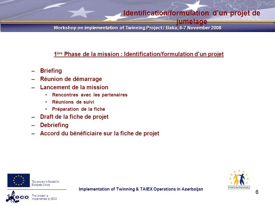 Workshop on implementation of Twinning Project / Baku, 6-7 November 2008 This project is funded by European Union This project is implemented by ECO Implementation of Twinning & TAIEX Operations in Azerbaijan 17 Réunions de sélection Permettre au bénéficiaire dapprécier la qualité du savoir faire offert par lEM afin de faire son choix La délégation du bénéficiaire doit comporter le CP, lhomologue du CRJ et les évaluateurs La délégation de lEM doit comporter le CP et le CRJ UGP : Président DCE : Observateur Pour tous les partenaires admis administrativement se passent le même jour Comité dévaluation Évaluation administrative Réunions de sélection Évaluation technique Évaluation/choix de lEM partenaire
