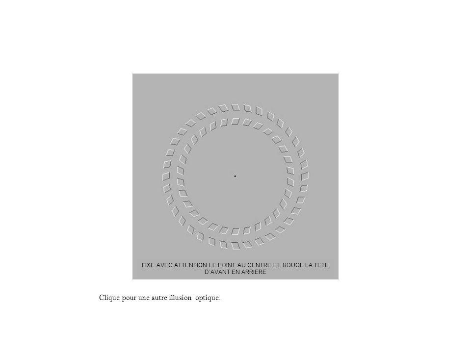 Clique pour une autre illusion optique. FIXE AVEC ATTENTION LE POINT AU CENTRE ET BOUGE LA TETE DAVANT EN ARRIERE
