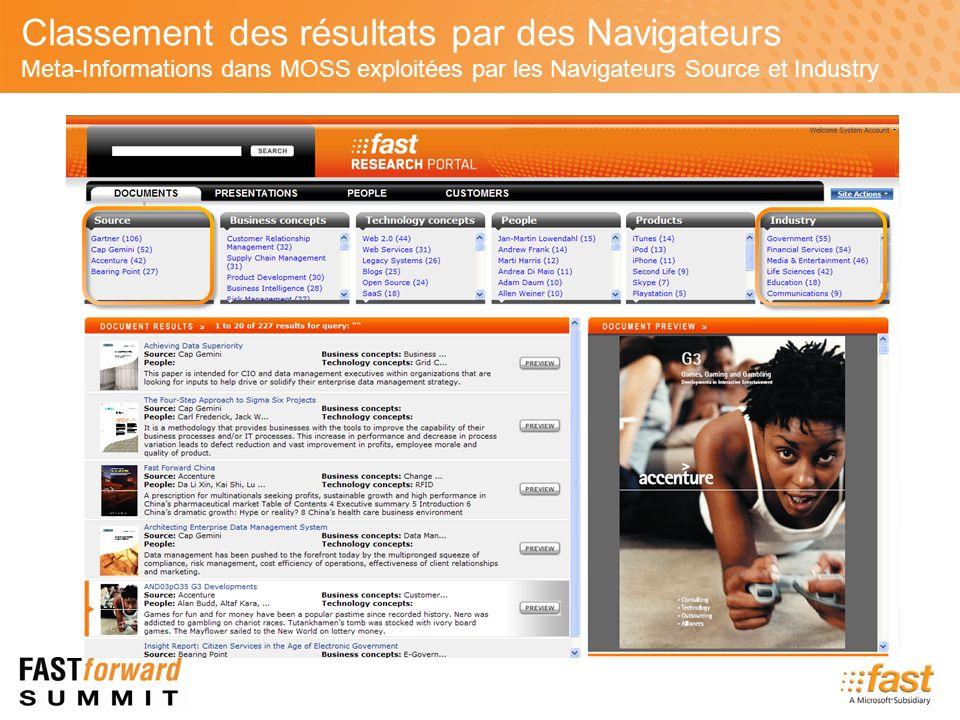Classement des résultats par des Navigateurs Meta-Informations dans MOSS exploitées par les Navigateurs Source et Industry