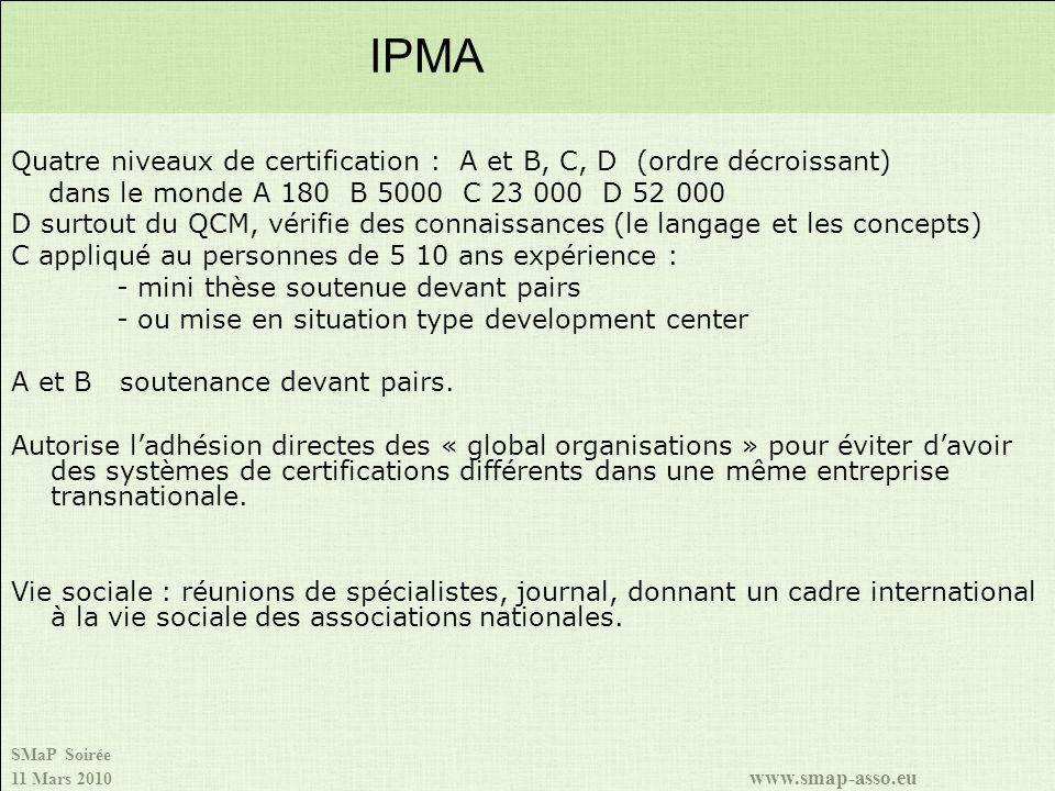 SMaP Soirée 11 Mars 2010 www.smap-asso.eu Quatre niveaux de certification : A et B, C, D (ordre décroissant) dans le monde A 180 B 5000 C 23 000 D 52