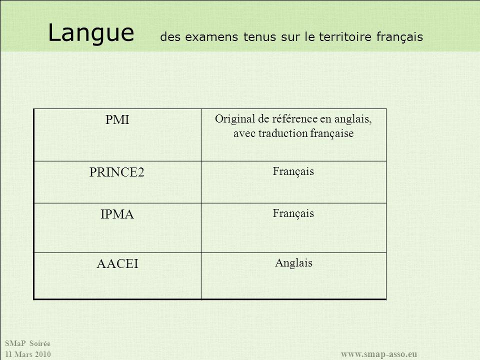 SMaP Soirée 11 Mars 2010 www.smap-asso.eu Langue des examens tenus sur le territoire français PMI Original de référence en anglais, avec traduction fr