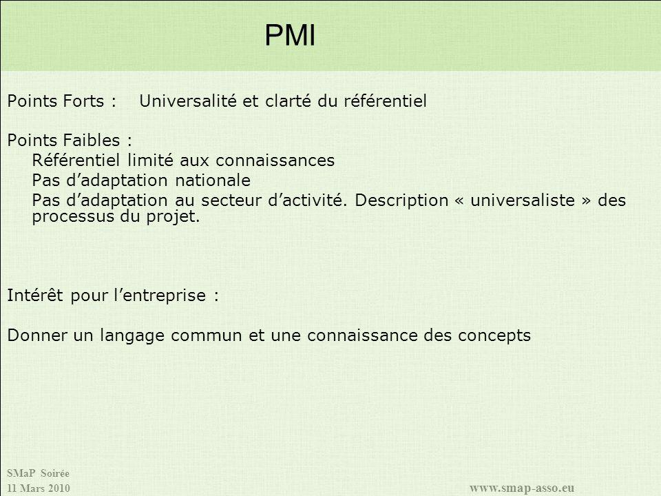 SMaP Soirée 11 Mars 2010 www.smap-asso.eu Points Forts :Universalité et clarté du référentiel Points Faibles : Référentiel limité aux connaissances Pa