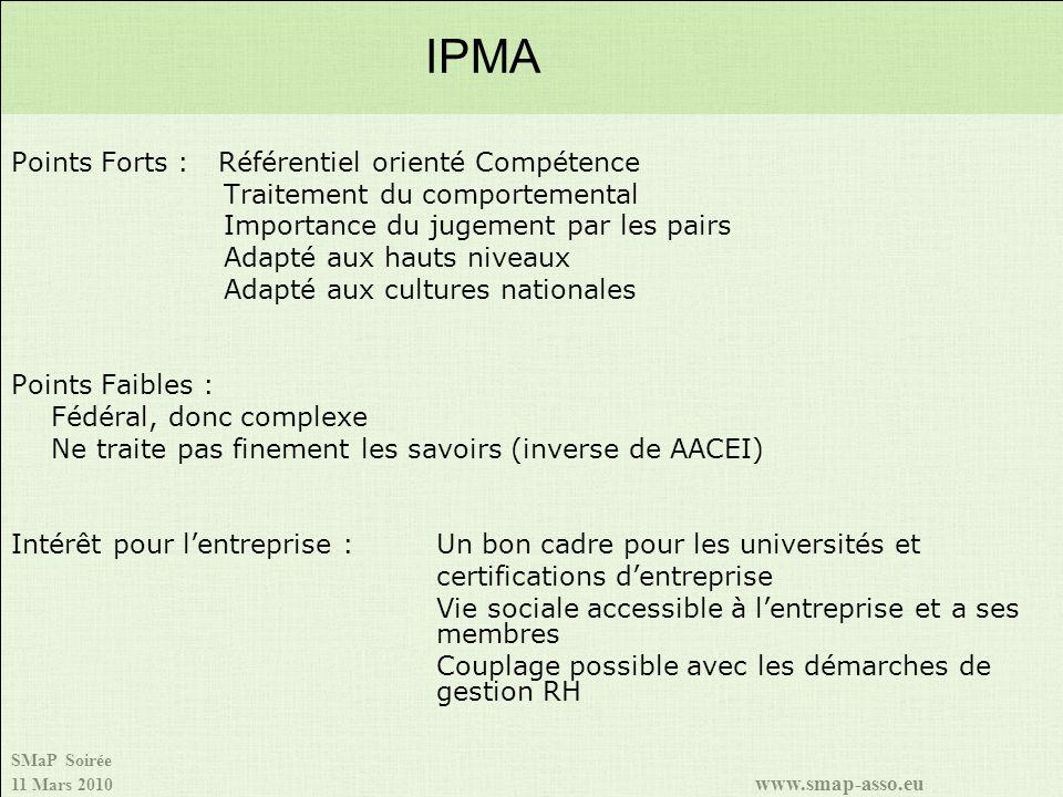 SMaP Soirée 11 Mars 2010 www.smap-asso.eu Points Forts : Référentiel orienté Compétence Traitement du comportemental Importance du jugement par les pa