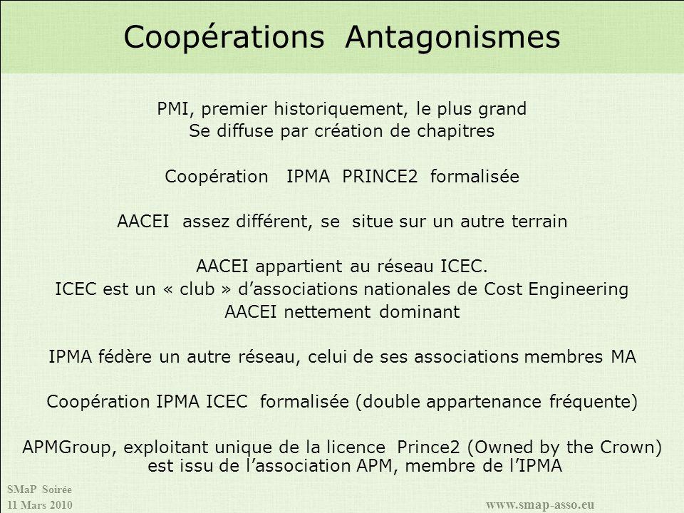 SMaP Soirée 11 Mars 2010 www.smap-asso.eu PMI, premier historiquement, le plus grand Se diffuse par création de chapitres Coopération IPMA PRINCE2 formalisée AACEI assez différent, se situe sur un autre terrain AACEI appartient au réseau ICEC.