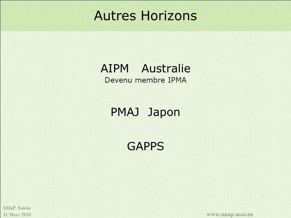 SMaP Soirée 11 Mars 2010 www.smap-asso.eu AIPM Australie Devenu membre IPMA PMAJ Japon GAPPS Autres Horizons