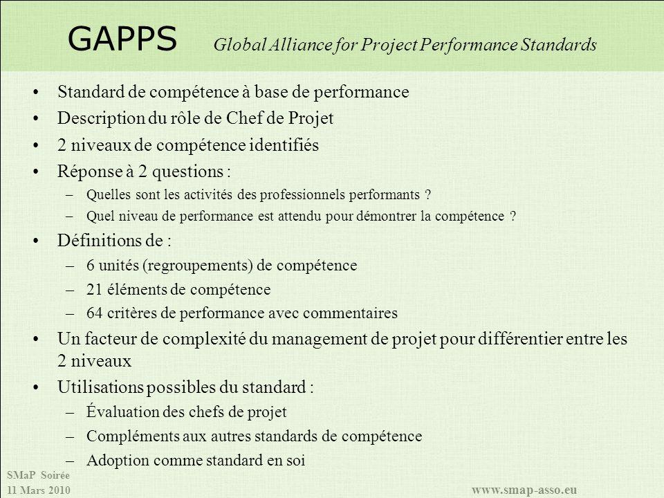 SMaP Soirée 11 Mars 2010 www.smap-asso.eu Standard de compétence à base de performance Description du rôle de Chef de Projet 2 niveaux de compétence identifiés Réponse à 2 questions : –Quelles sont les activités des professionnels performants .