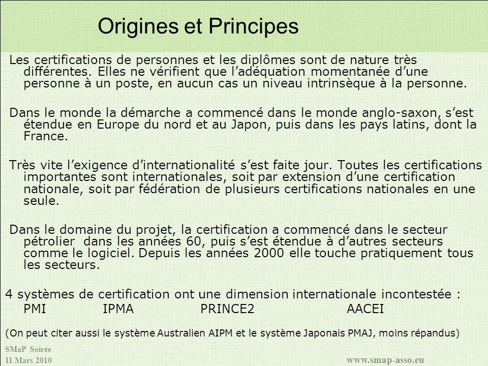 SMaP Soirée 11 Mars 2010 www.smap-asso.eu Les certifications de personnes et les diplômes sont de nature très différentes. Elles ne vérifient que ladé