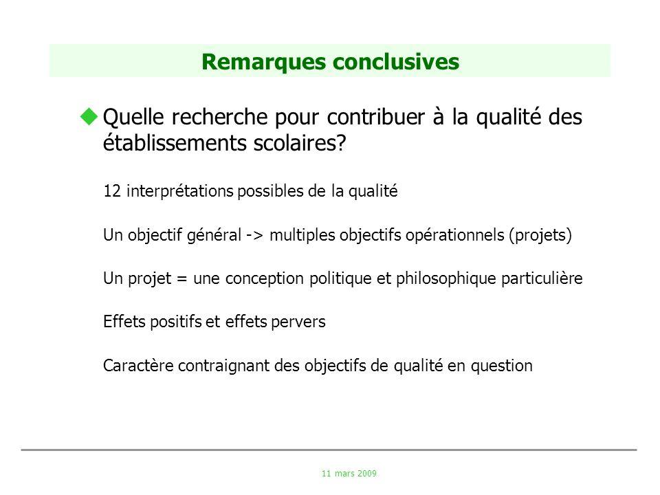 11 mars 2009 Remarques conclusives Quelle recherche pour contribuer à la qualité des établissements scolaires? 12 interprétations possibles de la qual