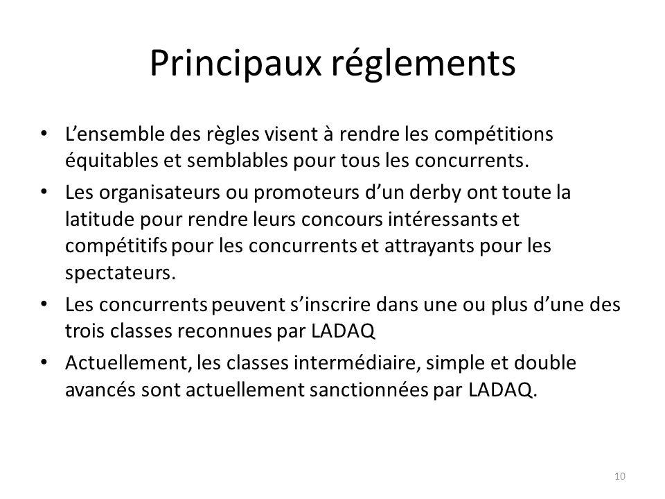 10 Principaux réglements Lensemble des règles visent à rendre les compétitions équitables et semblables pour tous les concurrents.
