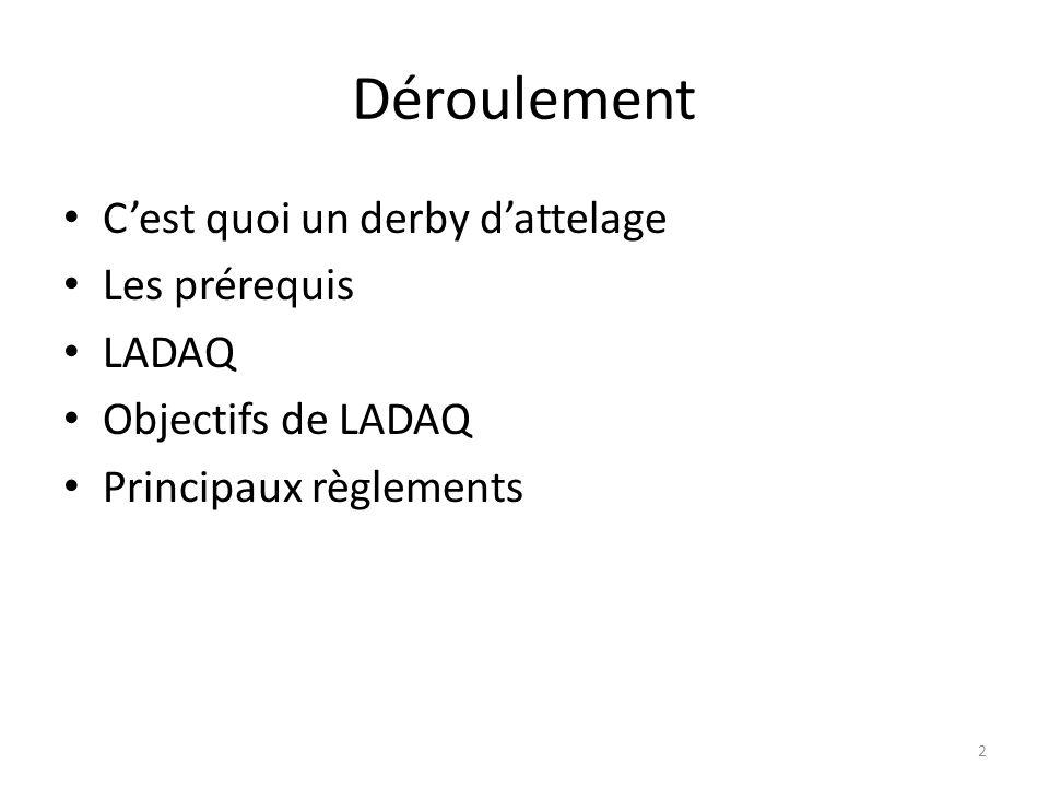 2 Déroulement Cest quoi un derby dattelage Les prérequis LADAQ Objectifs de LADAQ Principaux règlements