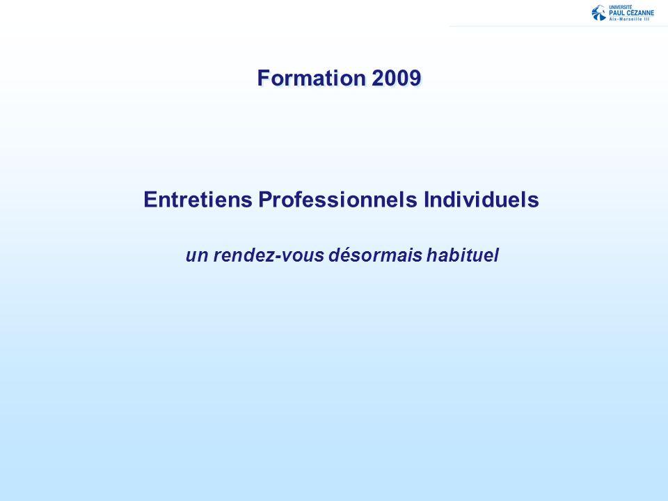 Formation 2009 Entretiens Professionnels Individuels un rendez-vous désormais habituel