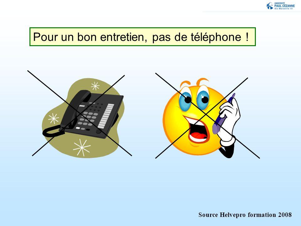 Pour un bon entretien, pas de téléphone ! Source Helvepro formation 2008
