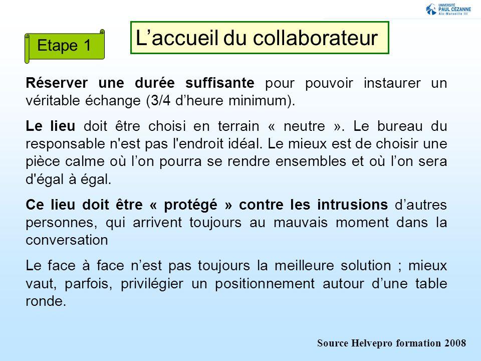 Laccueil du collaborateur Réserver une durée suffisante pour pouvoir instaurer un véritable échange (3/4 dheure minimum).