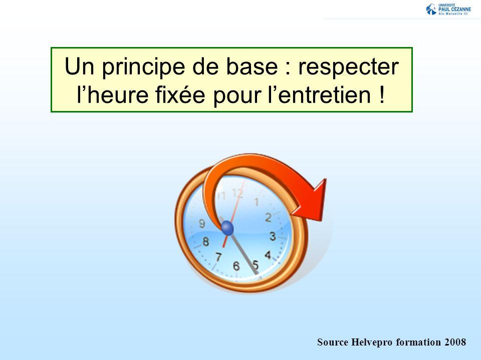 Un principe de base : respecter lheure fixée pour lentretien ! Source Helvepro formation 2008