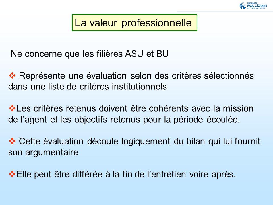 La valeur professionnelle Ne concerne que les filières ASU et BU Représente une évaluation selon des critères sélectionnés dans une liste de critères institutionnels Les critères retenus doivent être cohérents avec la mission de lagent et les objectifs retenus pour la période écoulée.