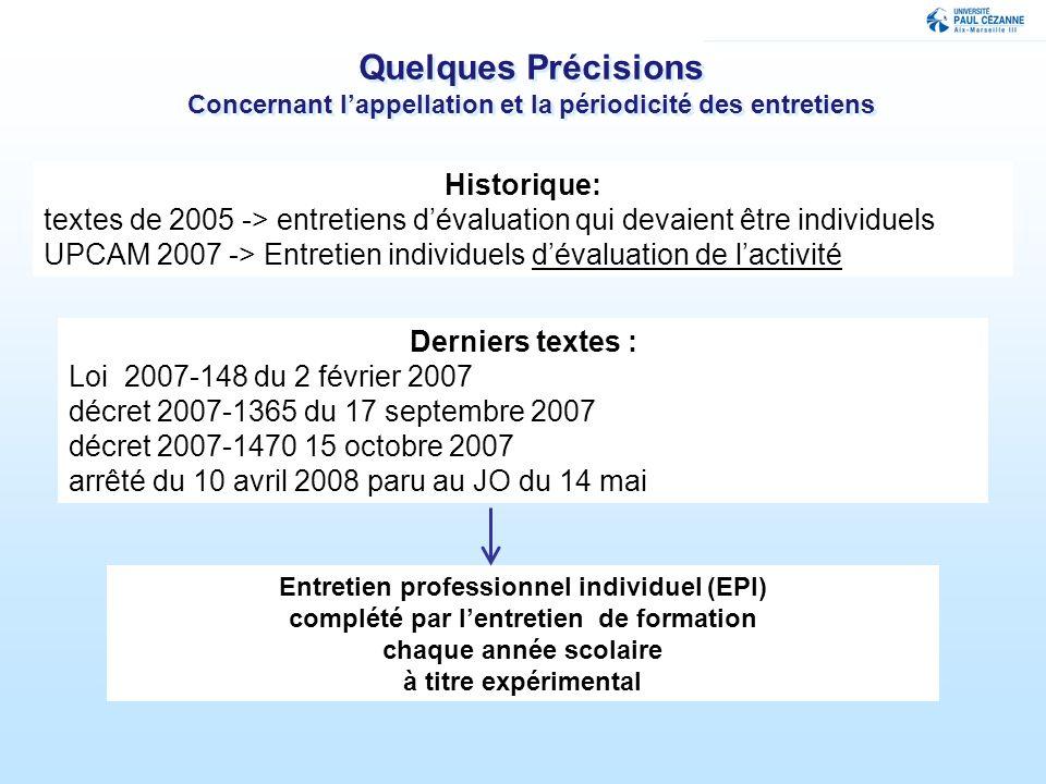 Quelques Précisions Concernant lappellation et la périodicité des entretiens Historique: textes de 2005 -> entretiens dévaluation qui devaient être in