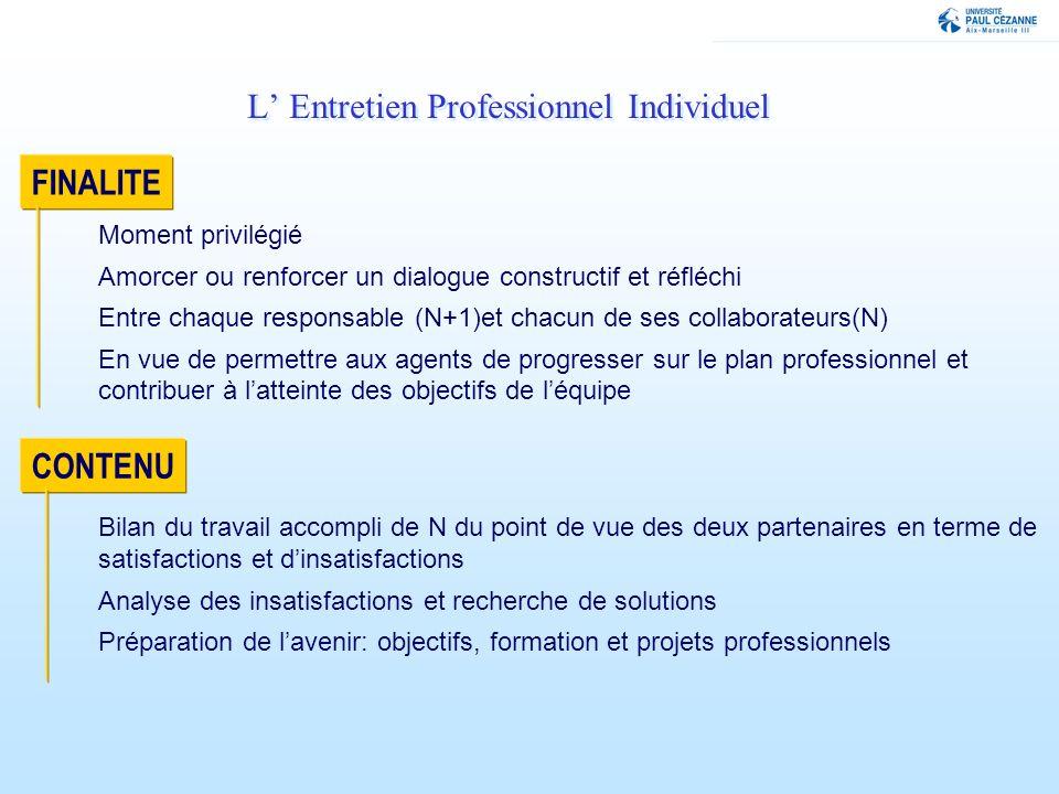 FINALITE Bilan du travail accompli de N du point de vue des deux partenaires en terme de satisfactions et dinsatisfactions Analyse des insatisfactions