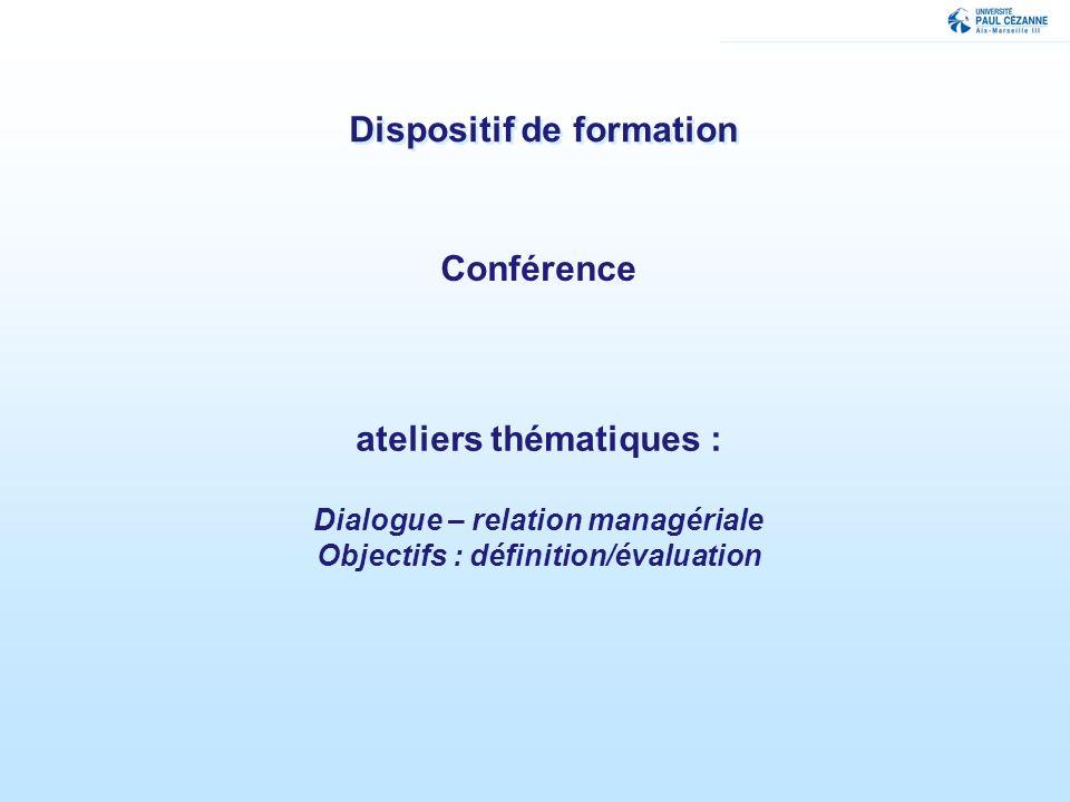 Dispositif de formation Conférence ateliers thématiques : Dialogue – relation managériale Objectifs : définition/évaluation