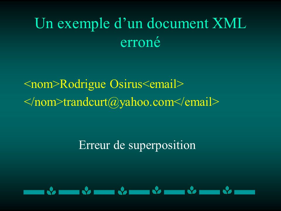 Un exemple dun document XML erroné Rodrigue Osirus trandcurt@yahoo.com Erreur de superposition
