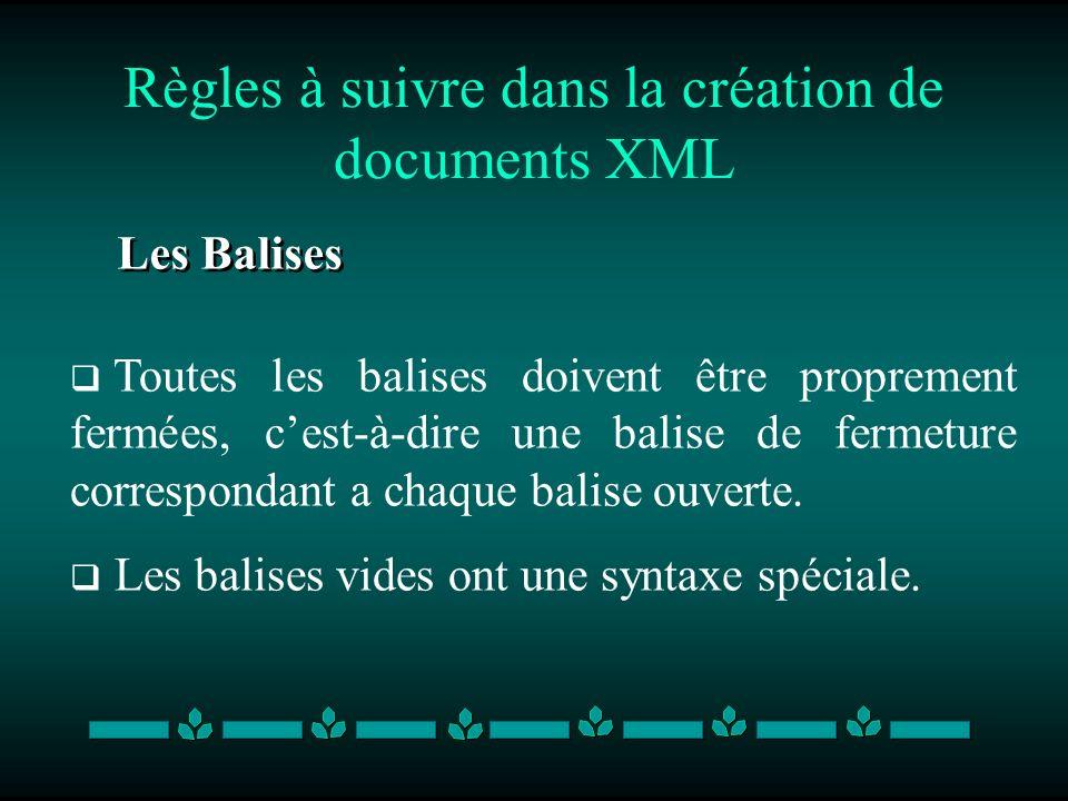 Règles à suivre dans la création de documents XML Les Balises Toutes les balises doivent être proprement fermées, cest-à-dire une balise de fermeture