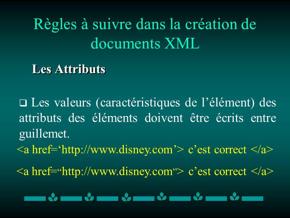 Règles à suivre dans la création de documents XML Les Attributs Les valeurs (caractéristiques de lélément) des attributs des éléments doivent être écr
