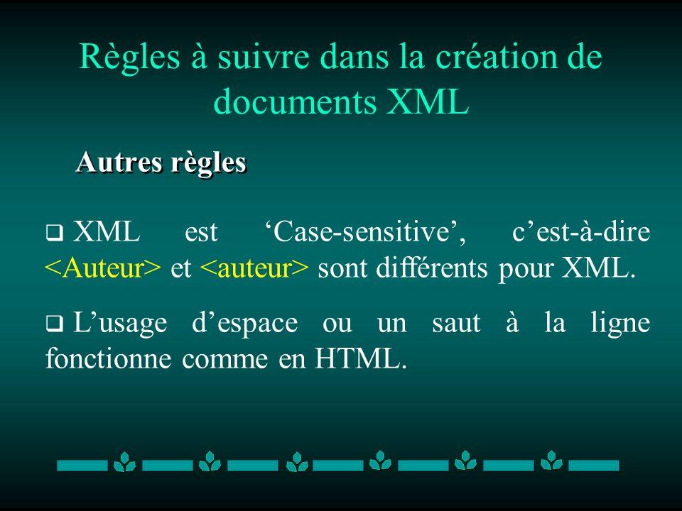 Règles à suivre dans la création de documents XML Autres règles XML est Case-sensitive, cest-à-dire et sont différents pour XML. Lusage despace ou un