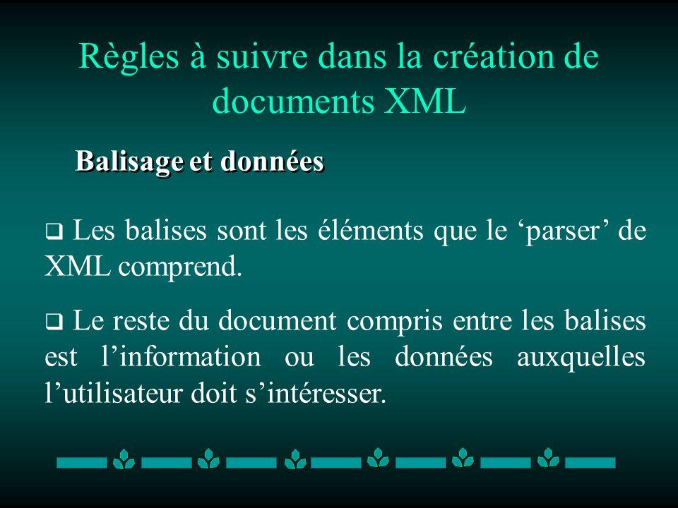 Règles à suivre dans la création de documents XML Balisage et données Les balises sont les éléments que le parser de XML comprend. Le reste du documen