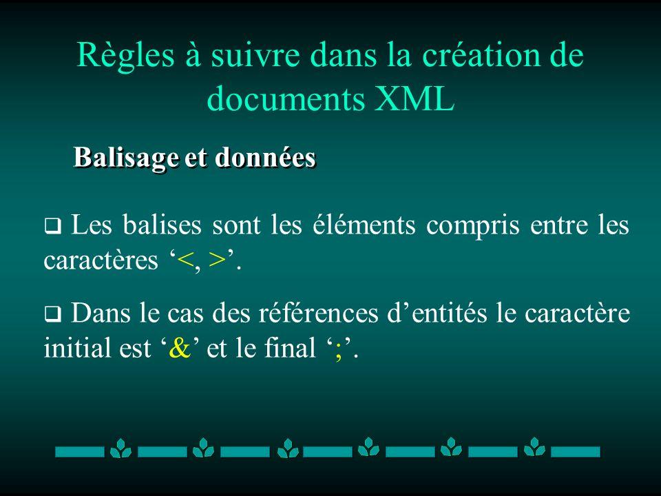 Règles à suivre dans la création de documents XML Balisage et données Les balises sont les éléments compris entre les caractères. Dans le cas des réfé