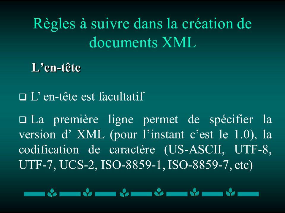 Règles à suivre dans la création de documents XML Len-tête L en-tête est facultatif La première ligne permet de spécifier la version d XML (pour linst