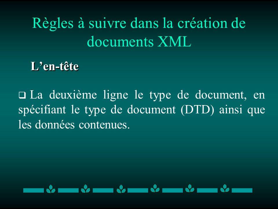 Règles à suivre dans la création de documents XML Len-tête La deuxième ligne le type de document, en spécifiant le type de document (DTD) ainsi que le