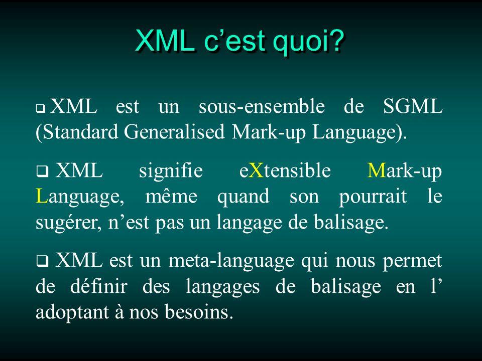 Règles à suivre dans la création de documents XML Les Attributs Les valeurs (caractéristiques de lélément) des attributs des éléments doivent être écrits entre guillemet.