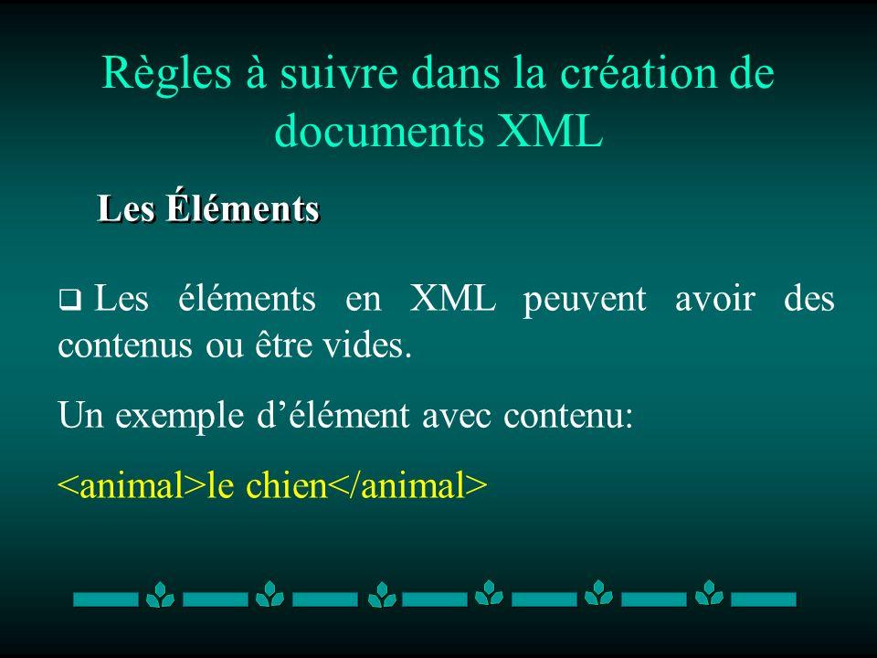 Règles à suivre dans la création de documents XML Les Éléments Les éléments en XML peuvent avoir des contenus ou être vides. Un exemple délément avec