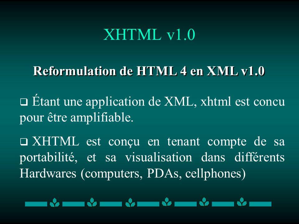 XHTML v1.0 Reformulation de HTML 4 en XML v1.0 Étant une application de XML, xhtml est concu pour être amplifiable. XHTML est conçu en tenant compte d