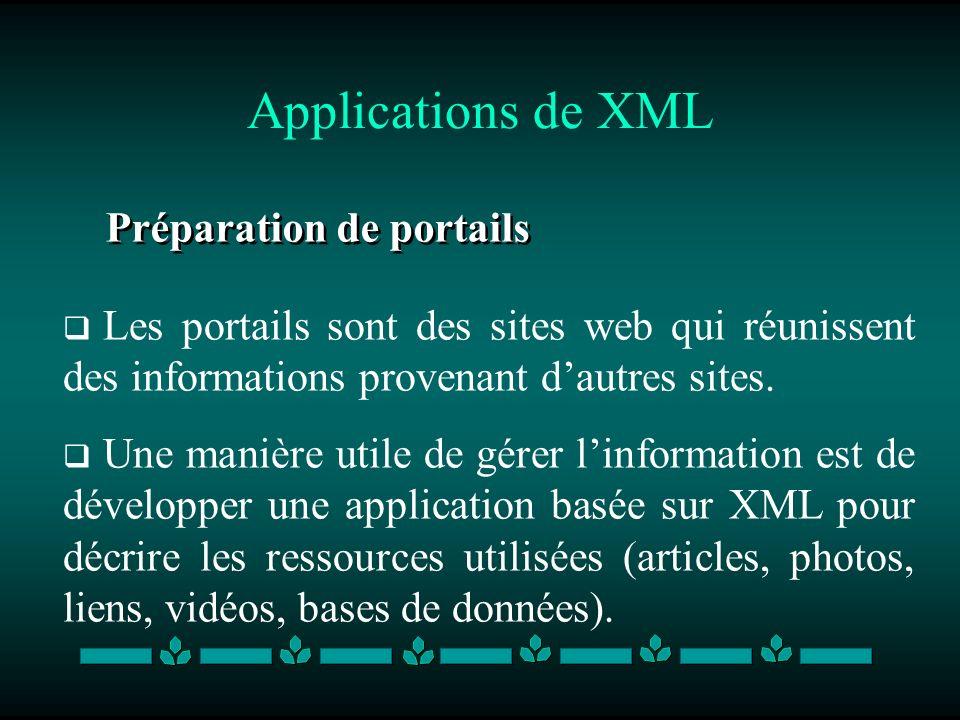 Applications de XML Préparation de portails Les portails sont des sites web qui réunissent des informations provenant dautres sites. Une manière utile
