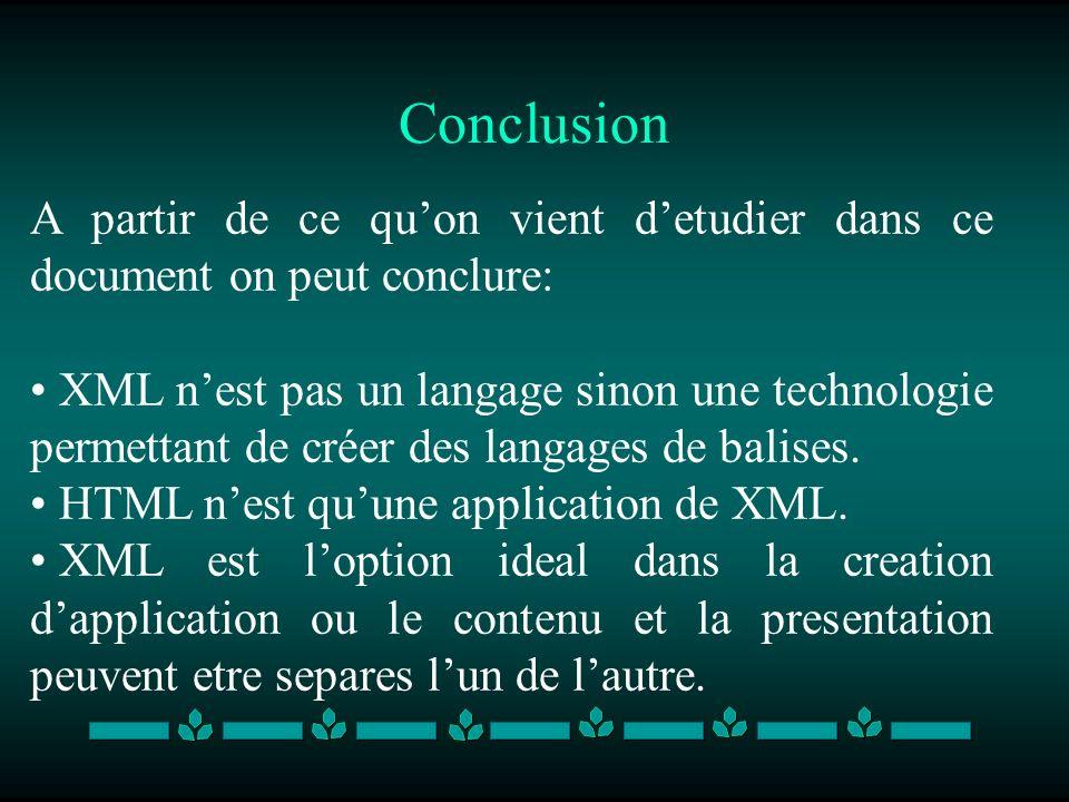 Conclusion A partir de ce quon vient detudier dans ce document on peut conclure: XML nest pas un langage sinon une technologie permettant de créer des