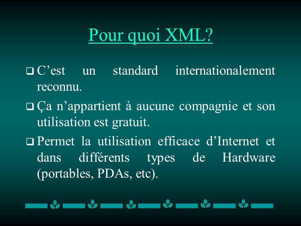 Pour quoi XML? Cest un standard internationalement reconnu. Ça nappartient à aucune compagnie et son utilisation est gratuit. Permet la utilisation ef