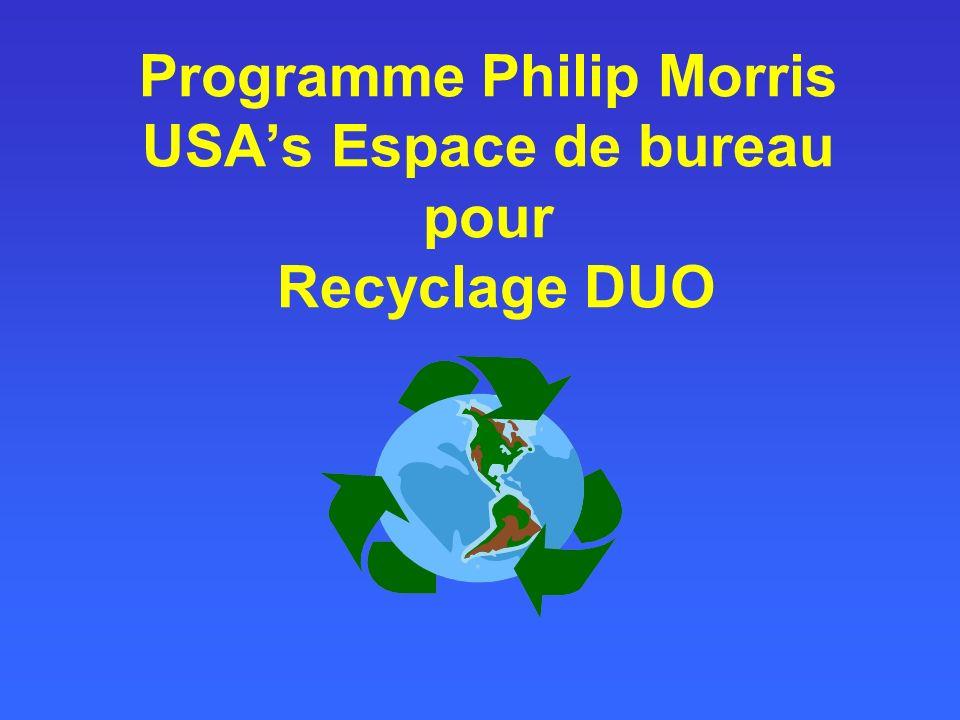 Programme Philip Morris USAs Espace de bureau pour Recyclage DUO