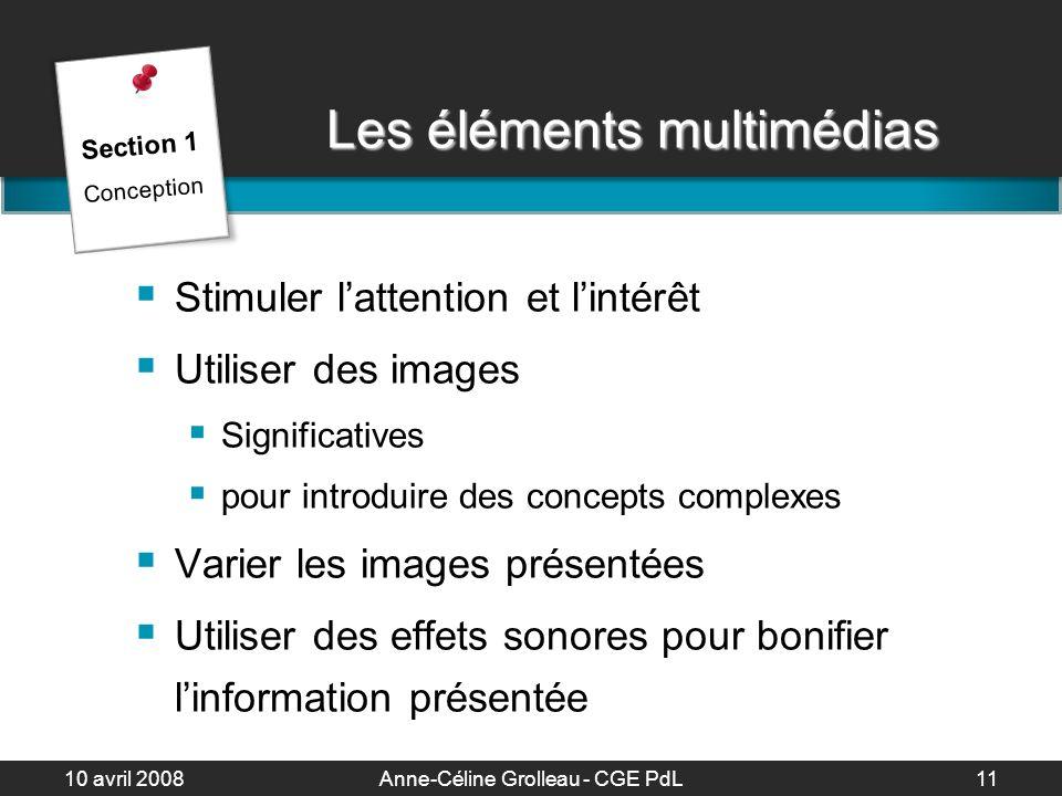 10 avril 2008Anne-Céline Grolleau - CGE PdL12 Créez vos propres images .