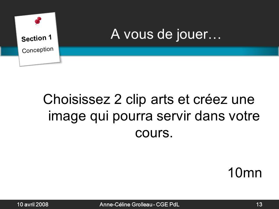 10 avril 2008Anne-Céline Grolleau - CGE PdL14 Langage des images… Langage des images… Forme des éléments Dynamisme - Mobilité Neutralité Statisme - Immobilisme Section 1 Conception