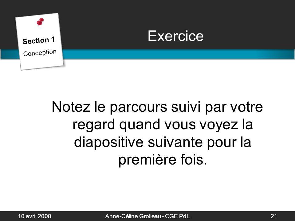 10 avril 2008Anne-Céline Grolleau - CGE PdL22 Organisation des éléments Vous avez 10 secondes pour regarder cette diapositive et noter le parcours suivi par votre regard