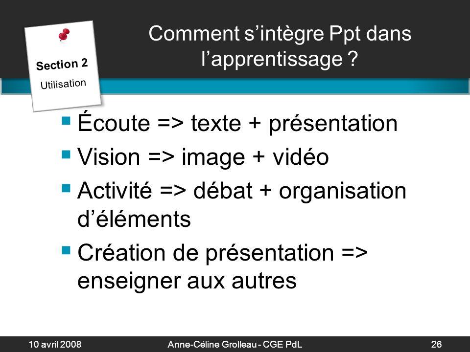 10 avril 2008Anne-Céline Grolleau - CGE PdL27 Comment sintègre Ppt dans lapprentissage .