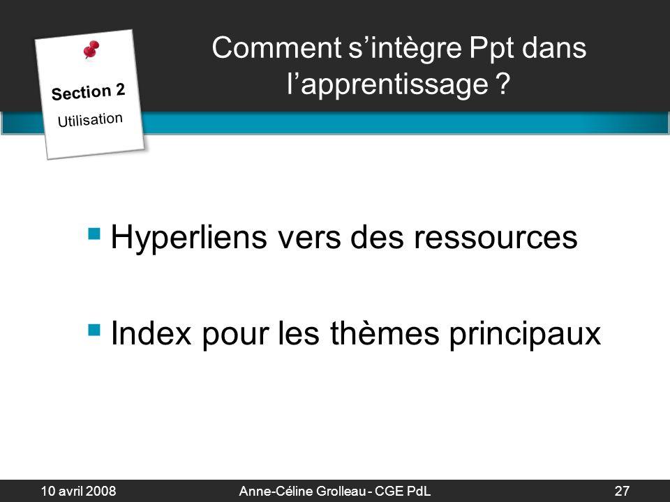 10 avril 2008Anne-Céline Grolleau - CGE PdL28 La présentation Auditoire Discours Animation Préparation Section 2 Utilisation