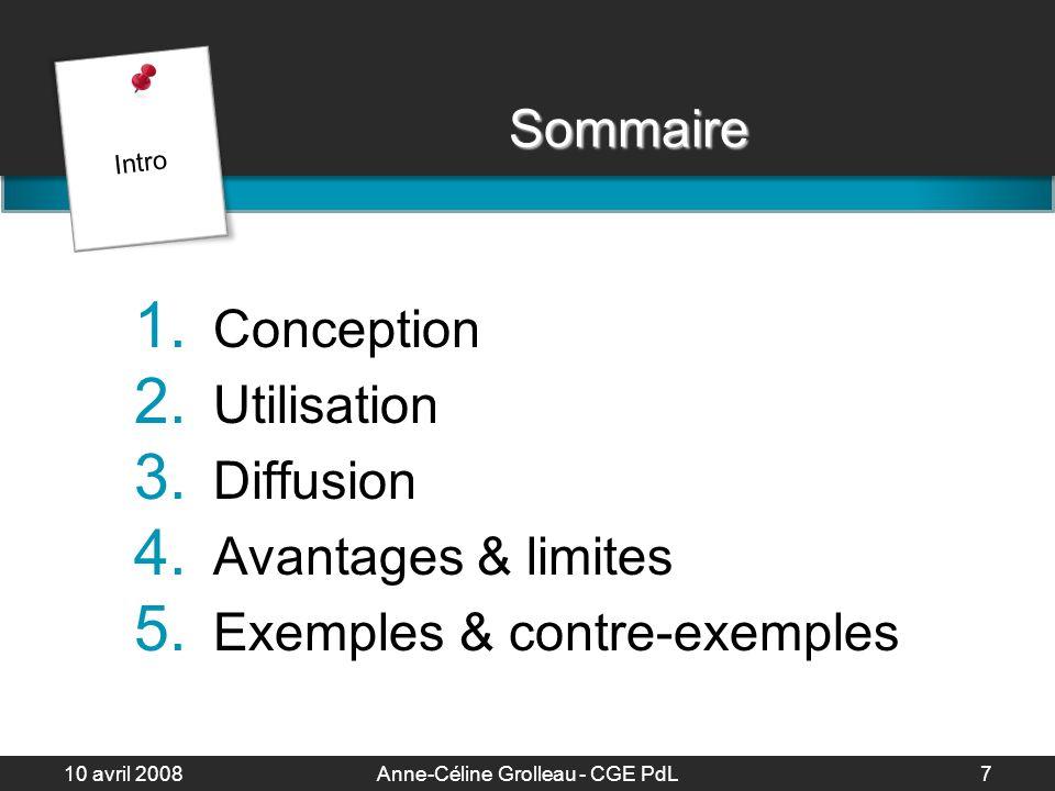 10 avril 2008Anne-Céline Grolleau - CGE PdL8 Conception Analyser le contexte Identifier le document date, auteur, diapo Section 1 Conception 1h de présentation 6 à 10h de préparation